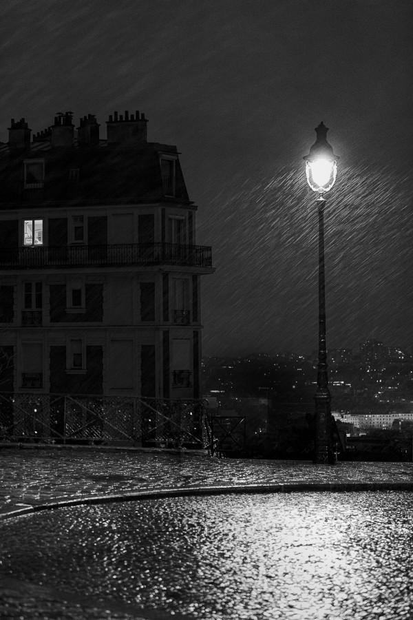 Patrick Philippo - Reverbère à Montmartre - Papier monochrome